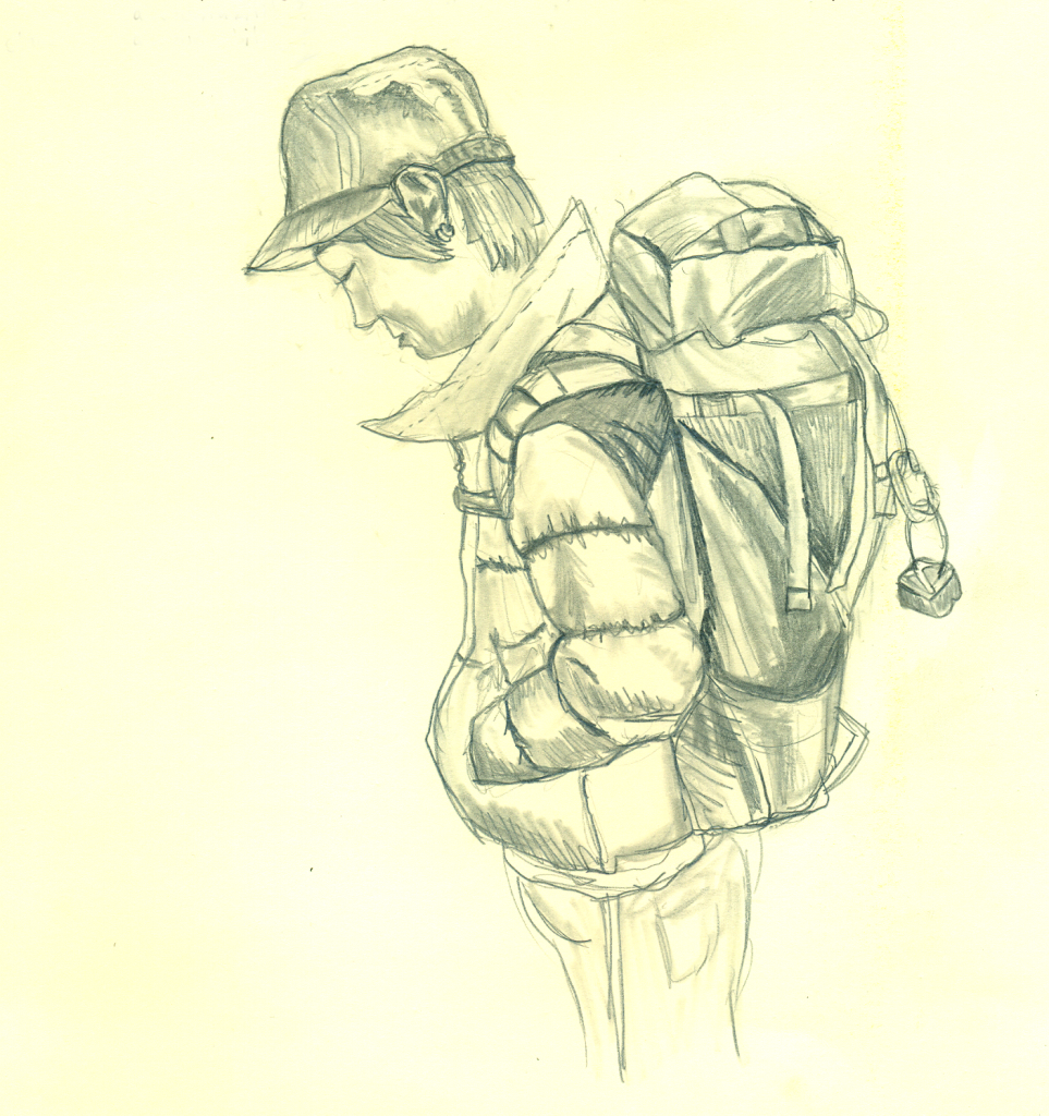 drawing of man carrying hiking bag